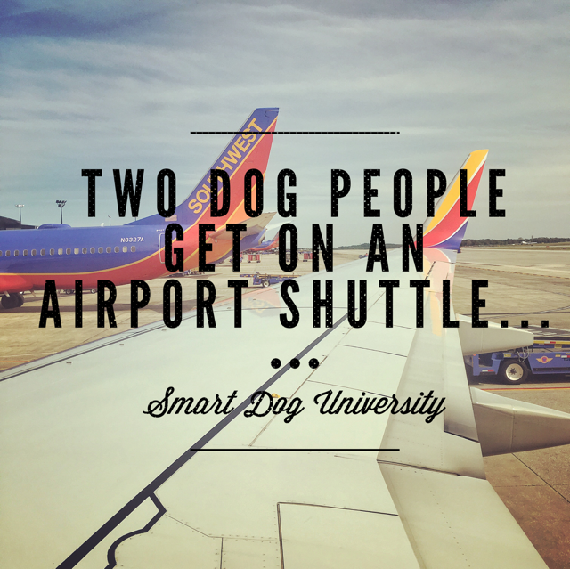Two Dog People Get on an Airport Shuttle…